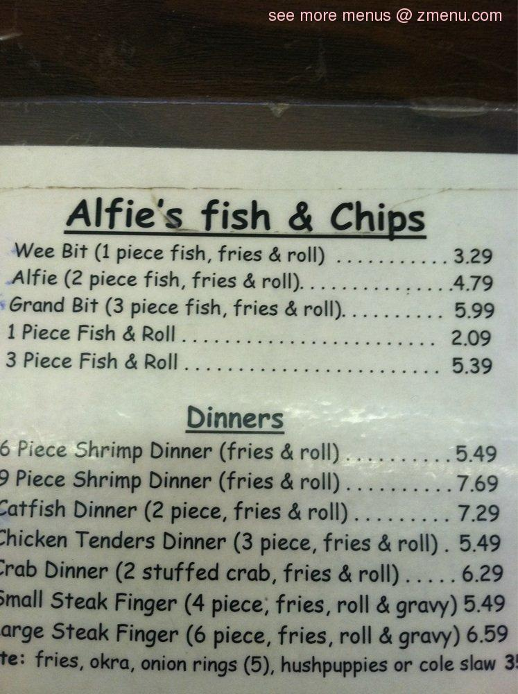 Online menu of alfie 39 s fish chips restaurant texas city for Jack in the box fish and chips