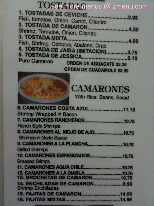 Martin Mariscos Restaurant Menu
