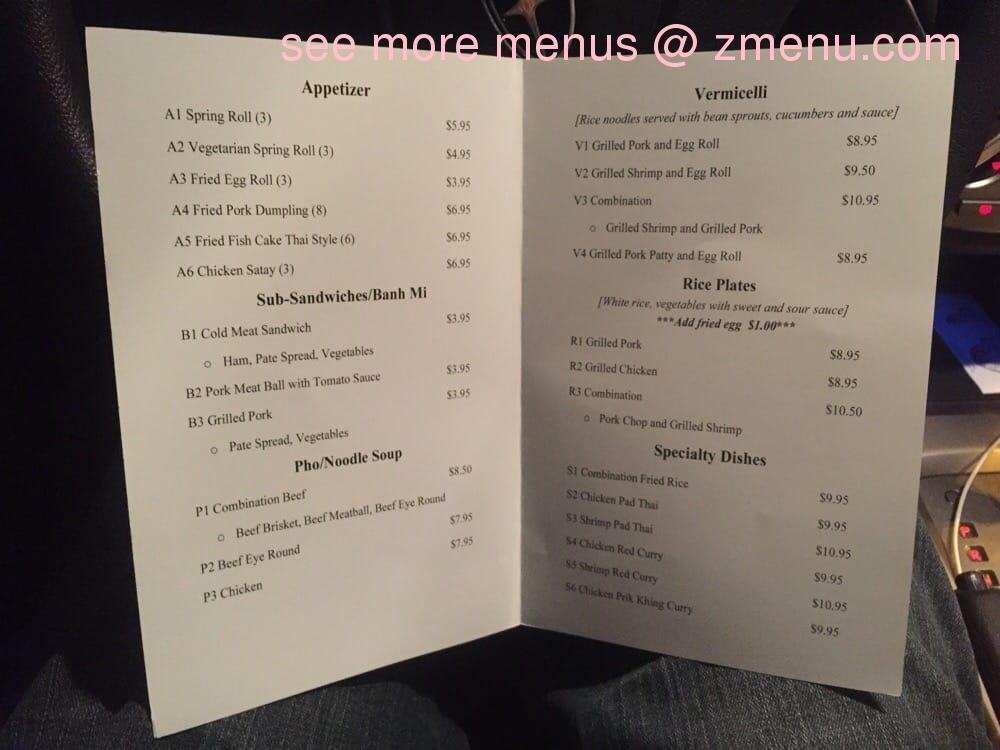 Online Menu of PHO Caf Restaurant, Wichita Falls, Texas