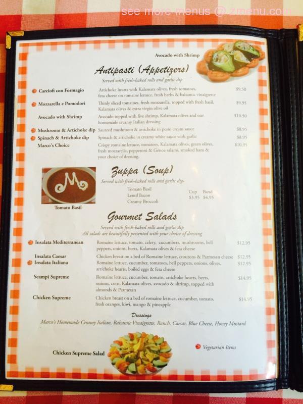 Online Menu of Marcos Italian Restaurant Restaurant, Wimberley ...