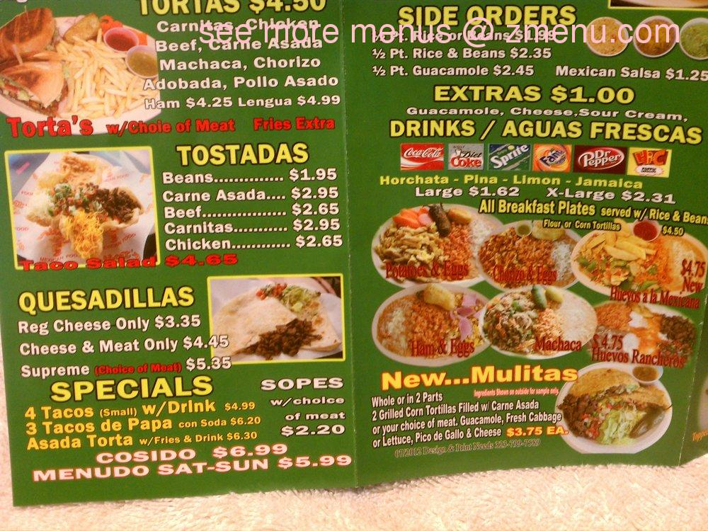 Online Menu Of Albert S Mexican Food Restaurant La Puente