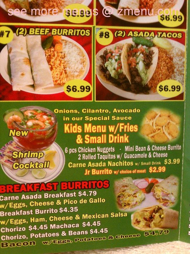 Online menu of albert 39 s mexican food restaurant la puente for Albert samain la cuisine