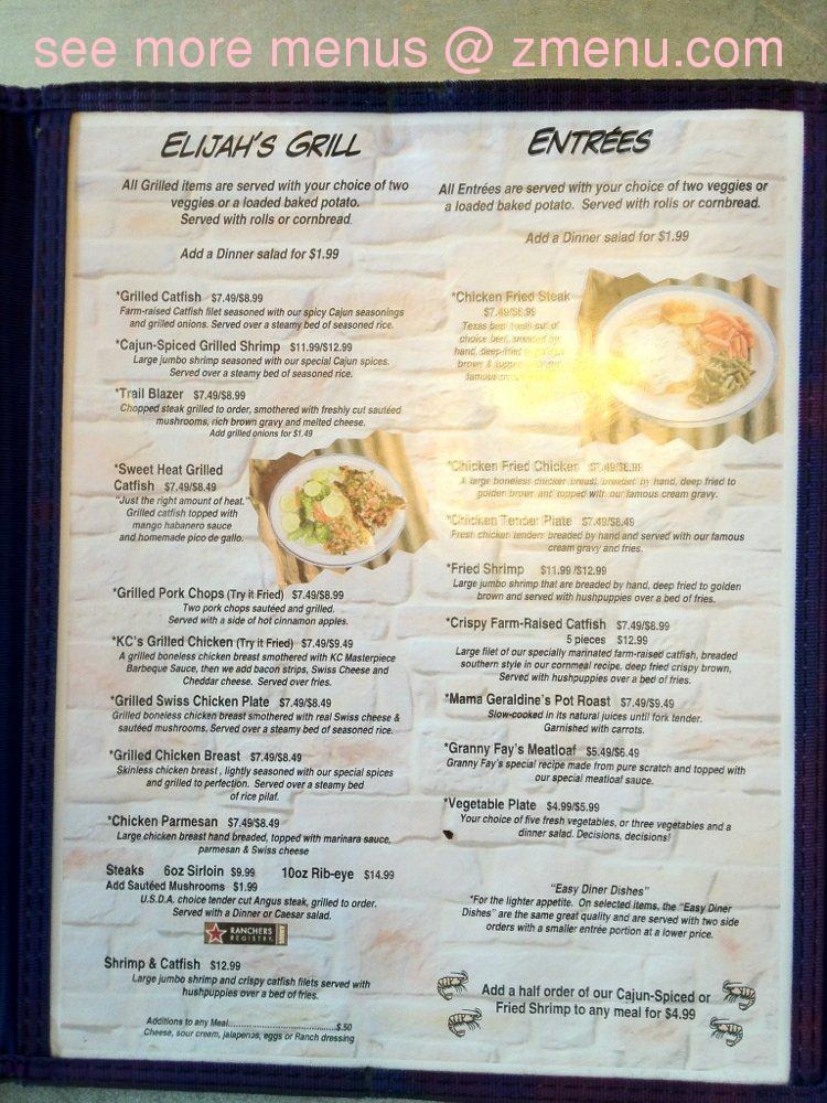 Elijah Cafe Menu