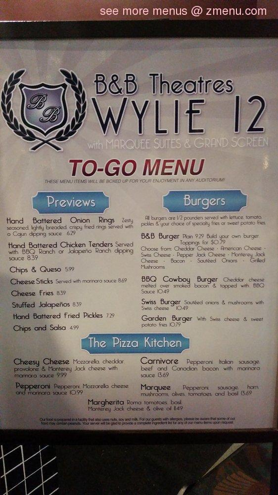 B B Wylie Food Menu