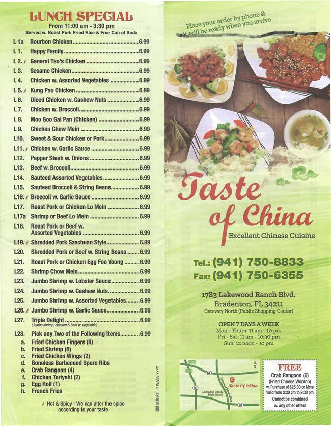 online menu of taste of china restaurant bradenton