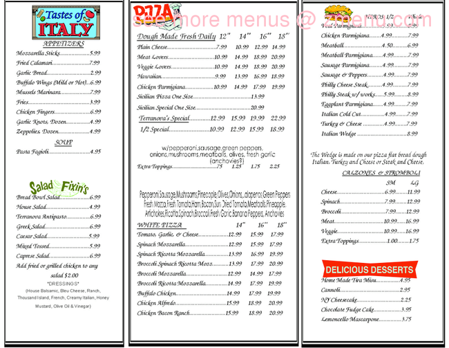 Terranova Restaurant Menu
