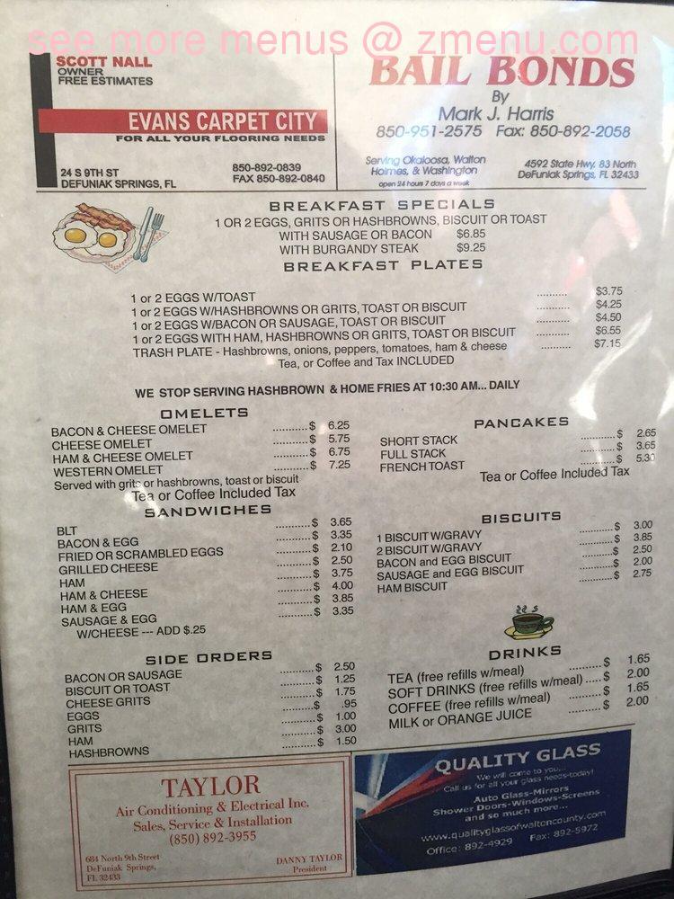 Corner Cafe Menu Defuniak Springs