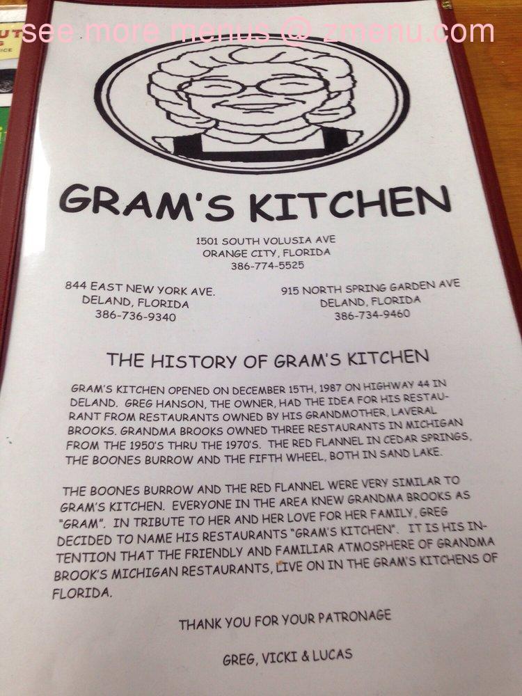 Online Menu Of Gram 39 S Kitchen Restaurant Deland Florida 32720 Zmenu