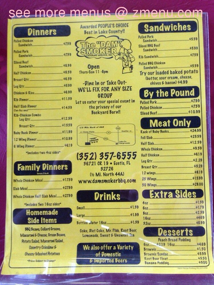 Online menu of dam smoker barbeque closed for King s fish house menu