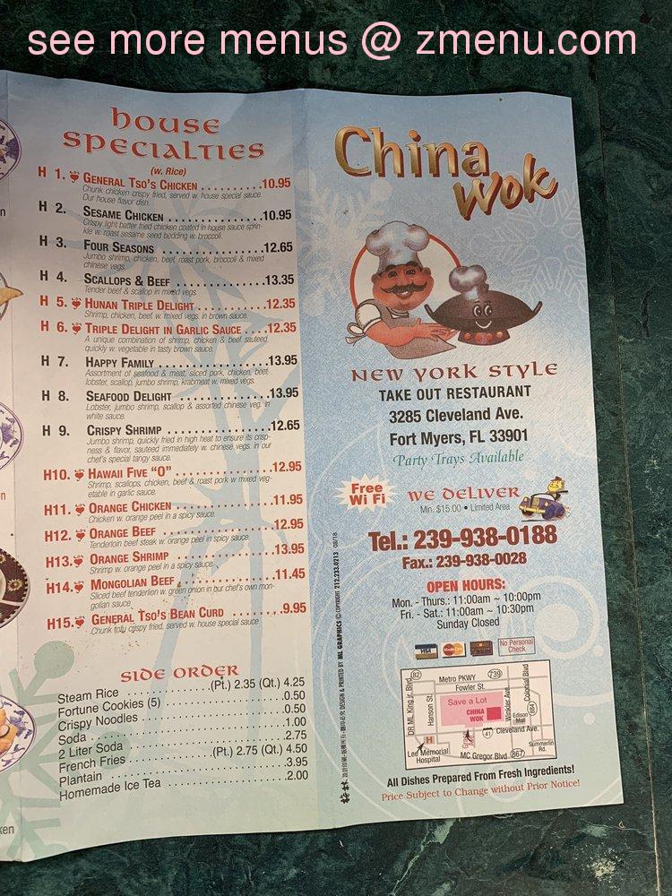 online menu of china wok restaurant fort myers florida