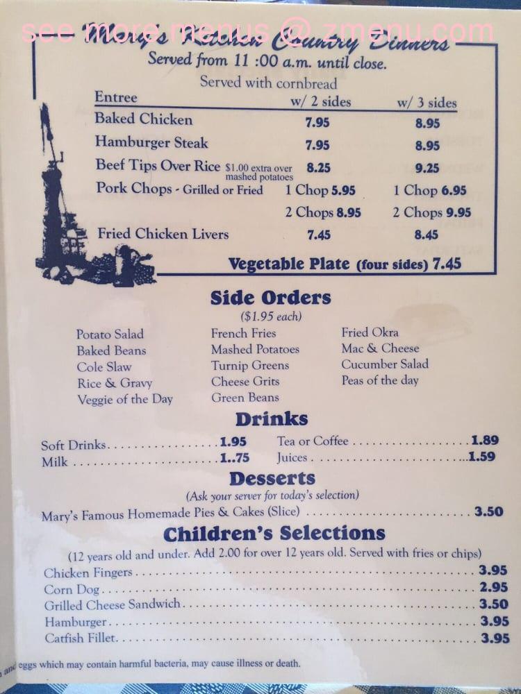 Online Menu of Mary\'s Kitchen Restaurant, Fort Walton Beach, Florida ...