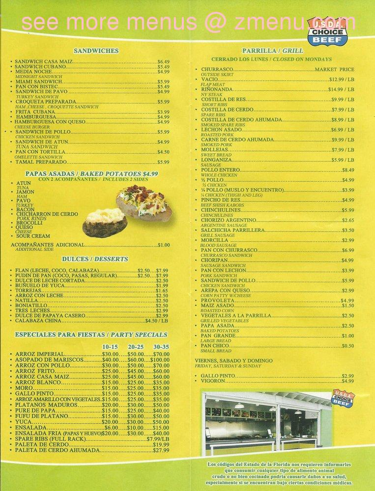 Online Menu of Casa Maiz Restaurant, Hialeah, Florida, 33014