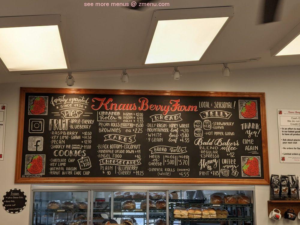 Online Menu Of Knaus Berry Farm Restaurant Homestead Florida 33031 Zmenu
