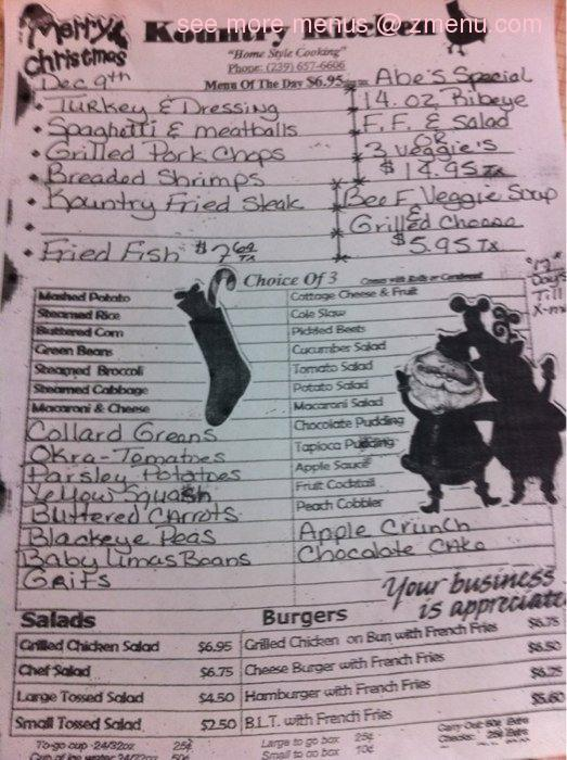 Online Menu Of Kountry Kitchen Restaurant Immokalee Florida 34142 Zmenu