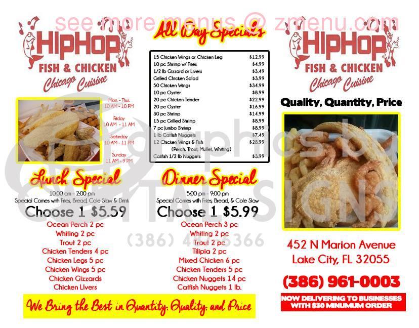 Online menu of hip hop fish chicken restaurant lake for Fish and chicken menu