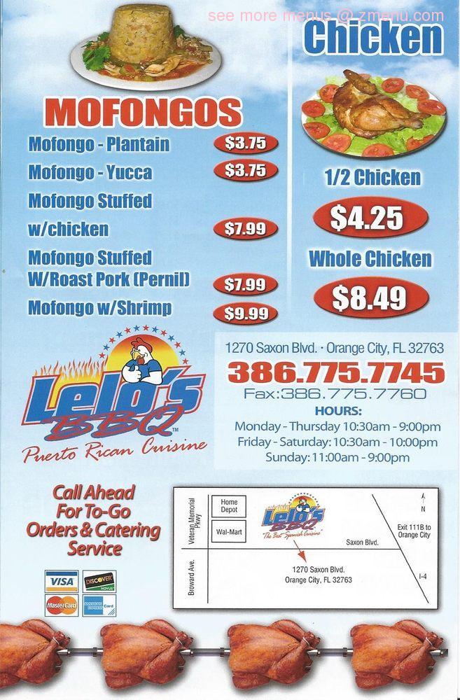 Online Menu Of Lelo S Bbq Puerto Rican Cuisine Restaurant Orange
