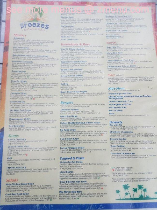 Online Menu Of Breezes At Orange Lake Resort Restaurant