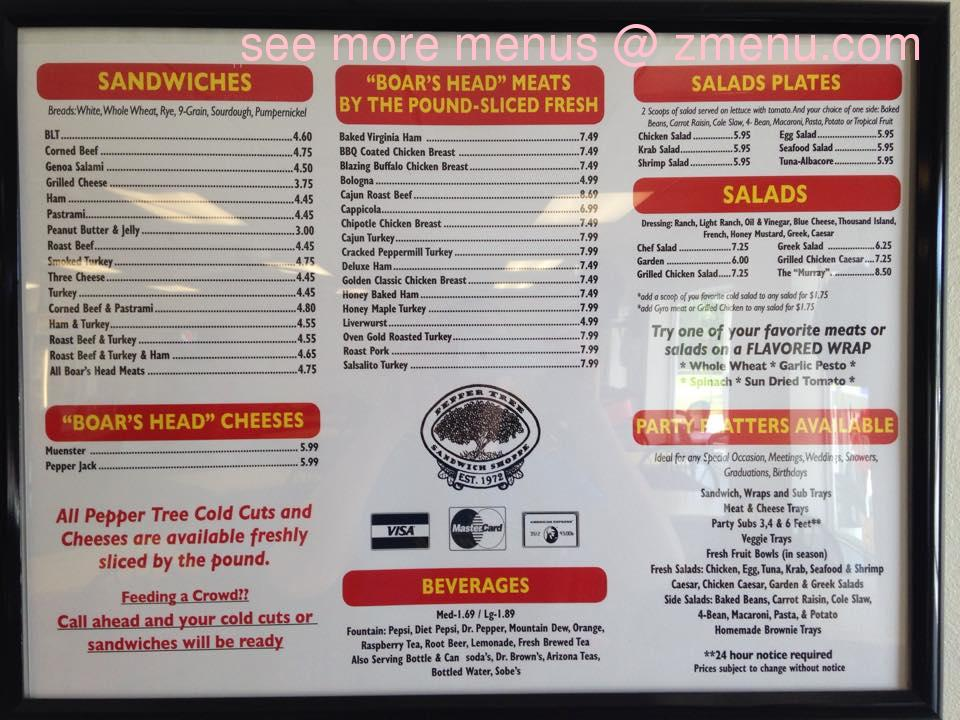 Take Out Menu For  Restaurant