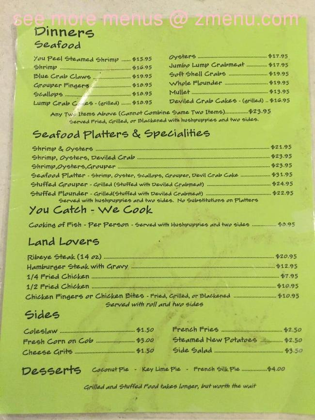 Coastal Restaurant Panacea Menu