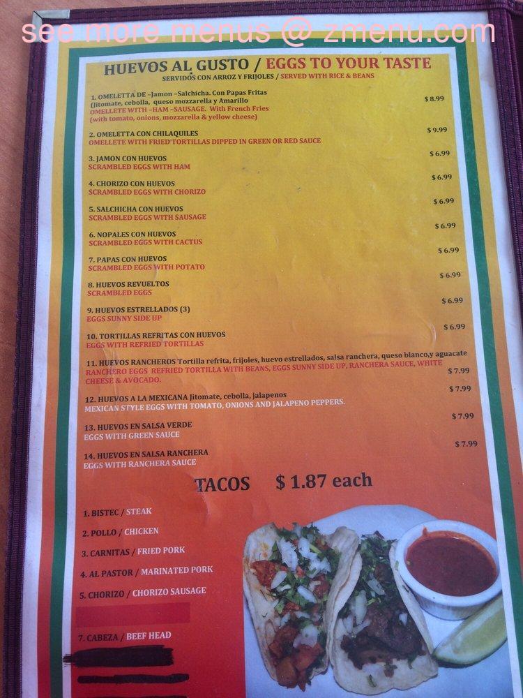 Online Menu of El Huarache Veloz Restaurant, Pinellas Park ...