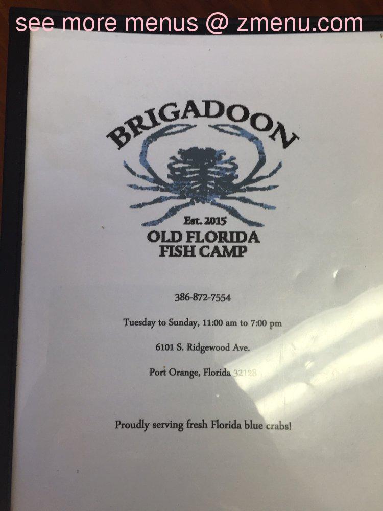 Online menu of brigadoon fish camp closed for Fish camp menu