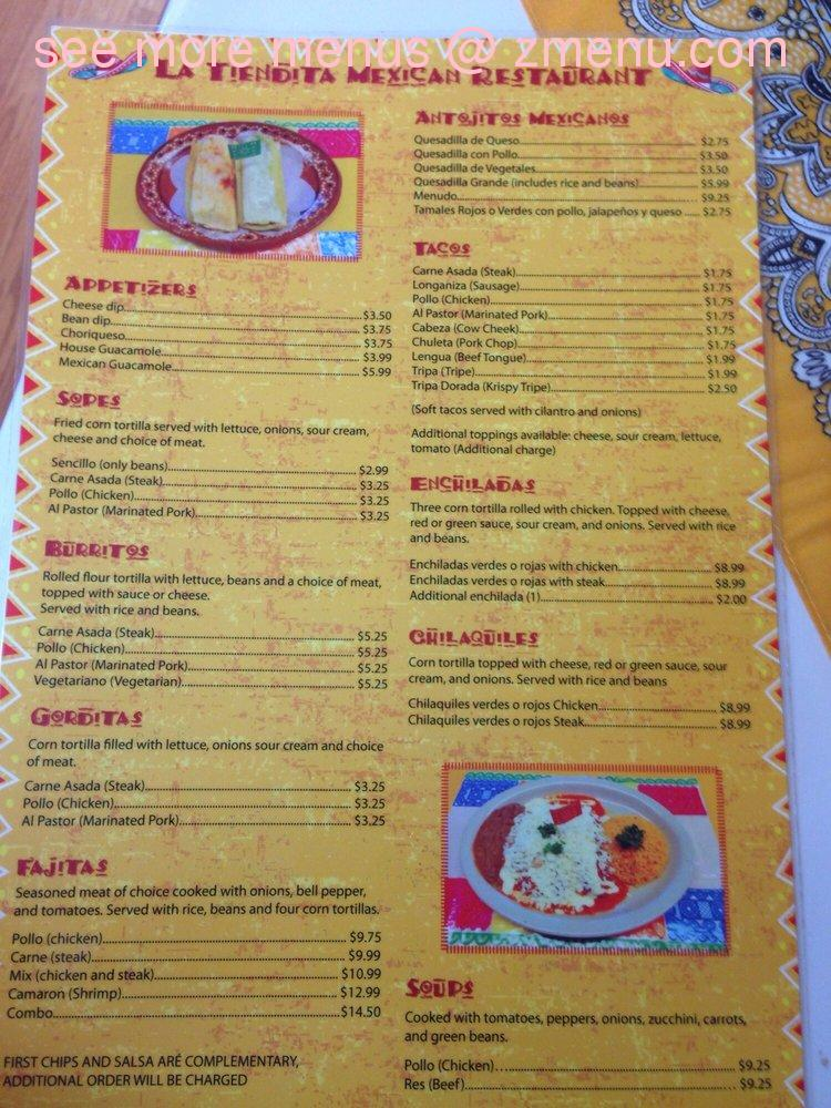 Note the menu prices may subject to change. & Online Menu of La Tiendita Restaurant Tallahassee Florida 32303 ...