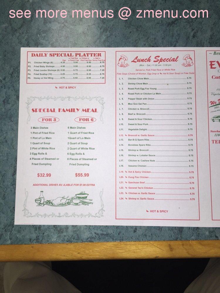 Online Menu Of Evergreen Restaurant Winter Haven Florida 33880