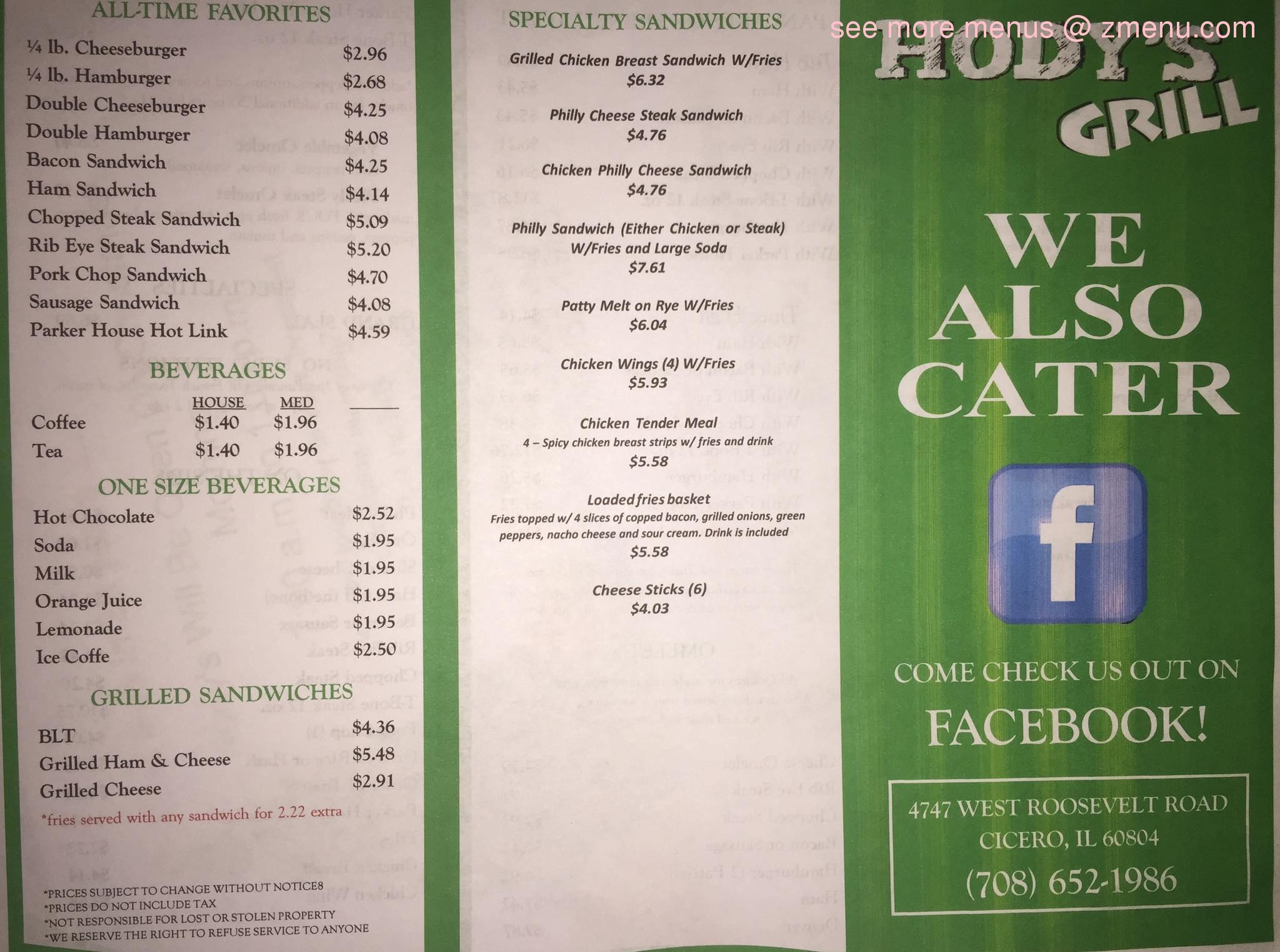 Online Menu Of Hodys Grill Restaurant Cicero Illinois 60644 Zmenu