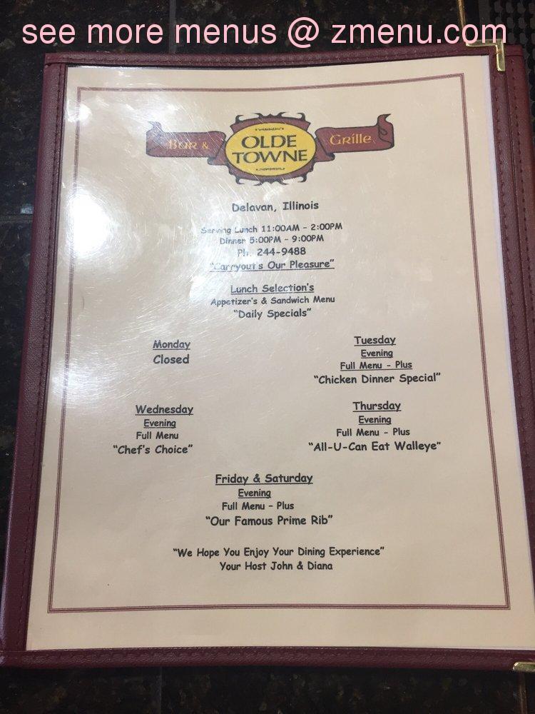 Online Menu Of Olde Towne Bar Grille Restaurant Delavan Illinois 61734 Zmenu
