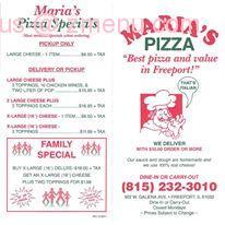Online Menu Of Marias Pizza Restaurant Freeport Illinois