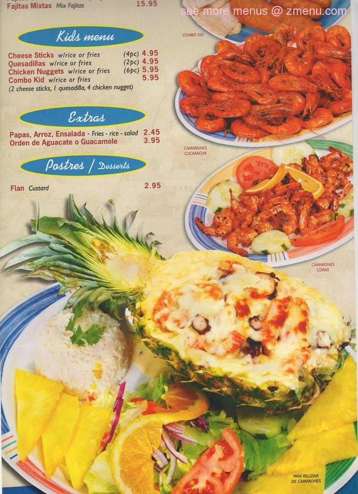 Islas Marias Restaurant Menu