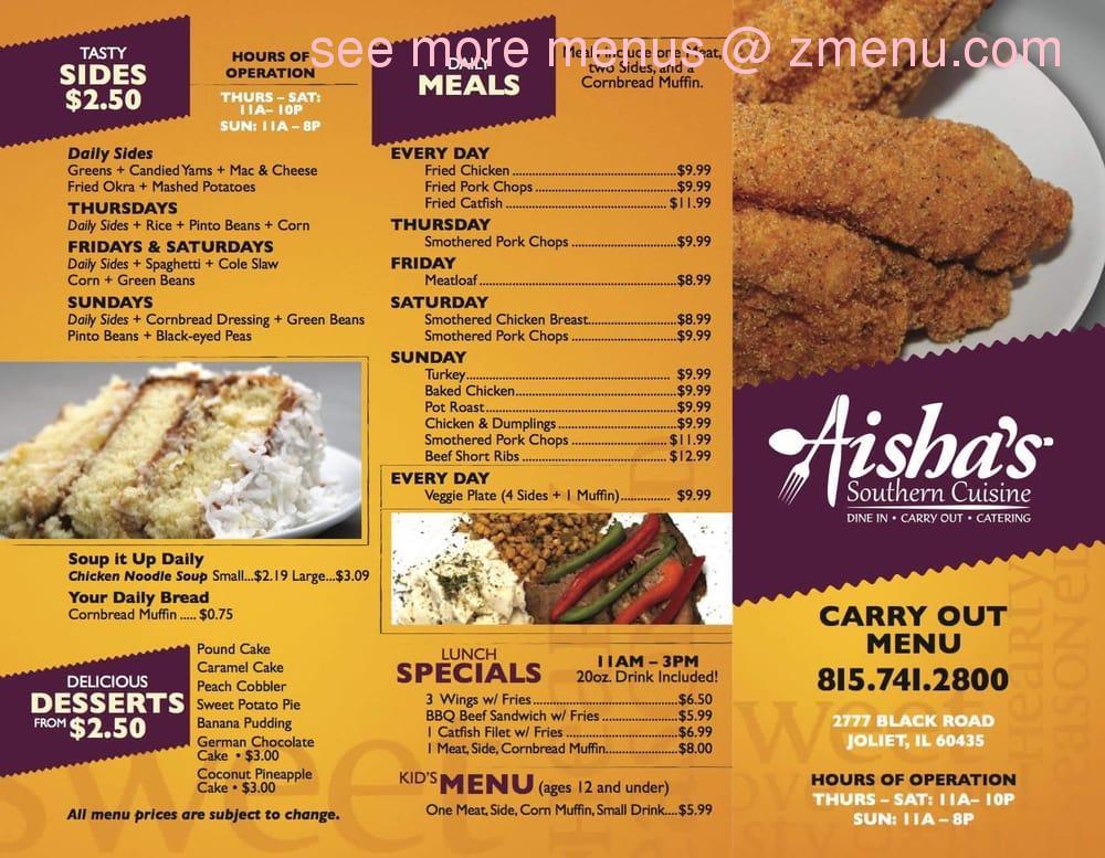 Aisha S Restaurant Joliet Menu