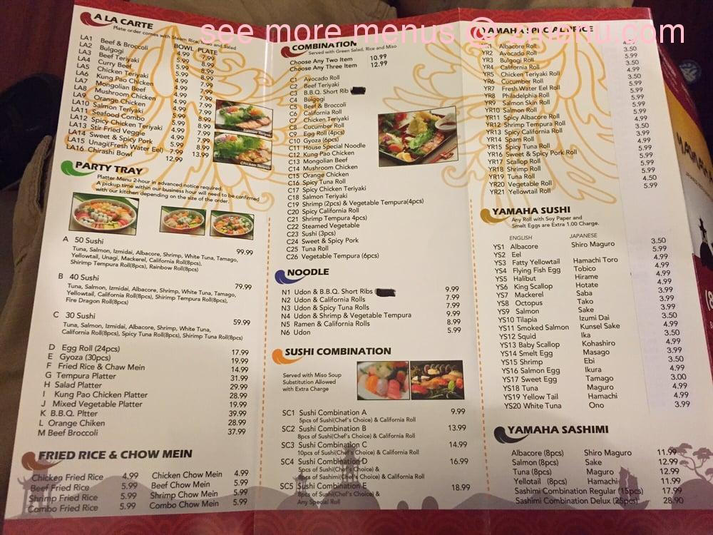 Online Menu Of Yamaha Sushi Restaurant Los Angeles California