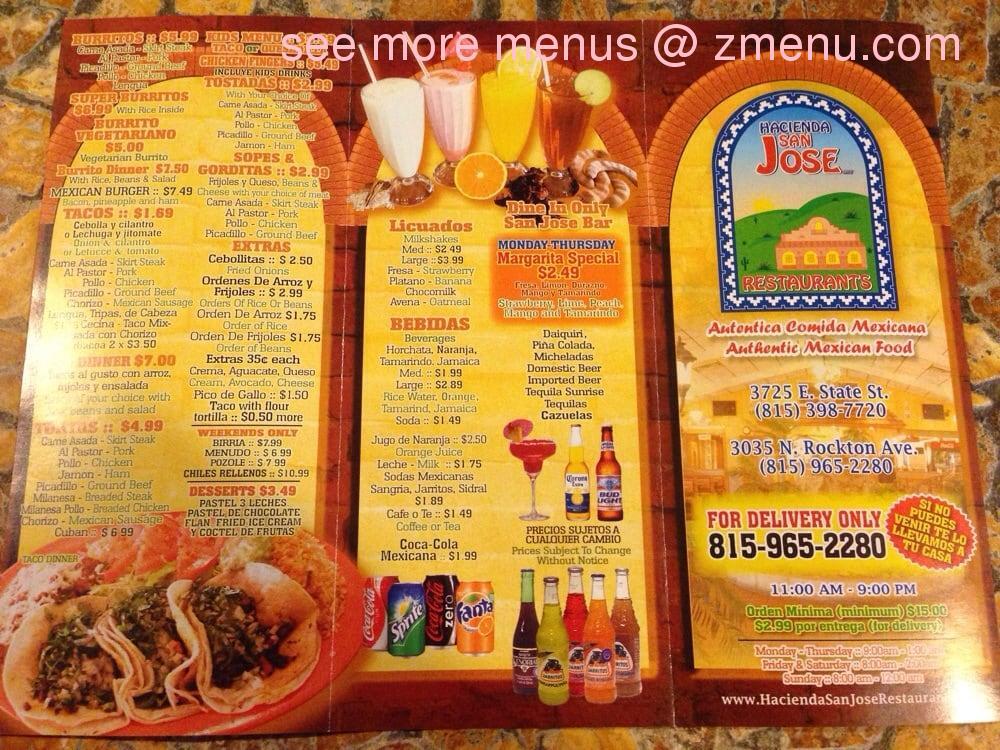 Online Menu Of Taqueria San Jose Inc Restaurant Rockford Illinois