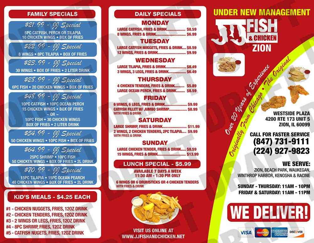Online menu of jj fish and chicken restaurant zion for Jj fish chicken menu