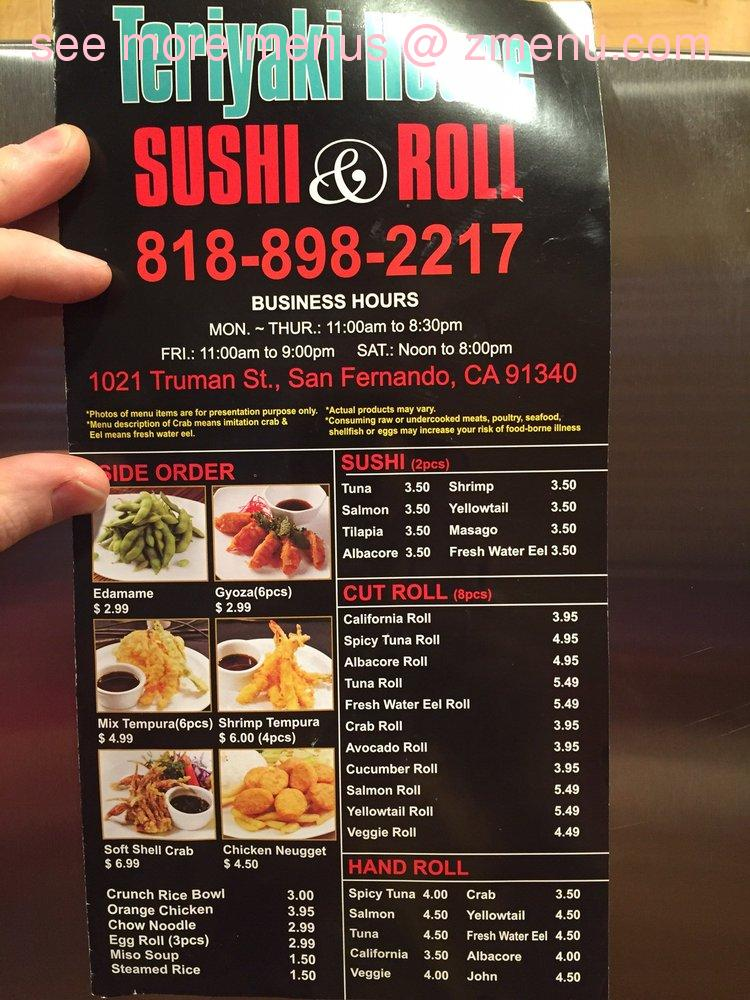 Online Menu Of Teriyaki House Restaurant San Fernando California
