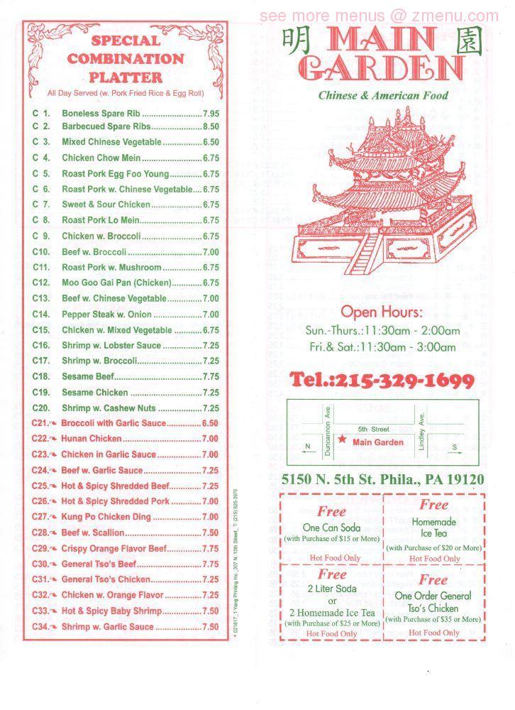 Online Menu of Main Garden Chinese Restaurant Restaurant