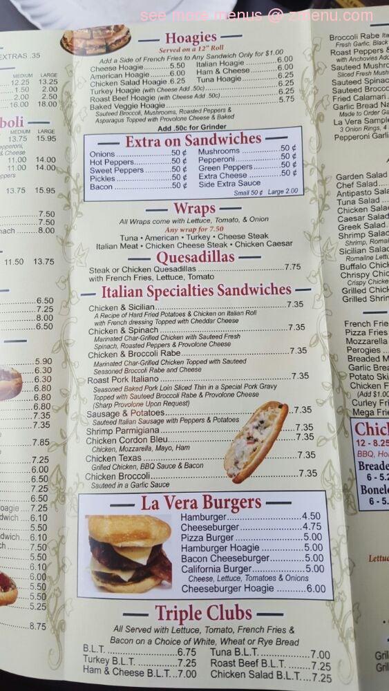 Online Menu Of La Vera Pizza Restaurant Croydon