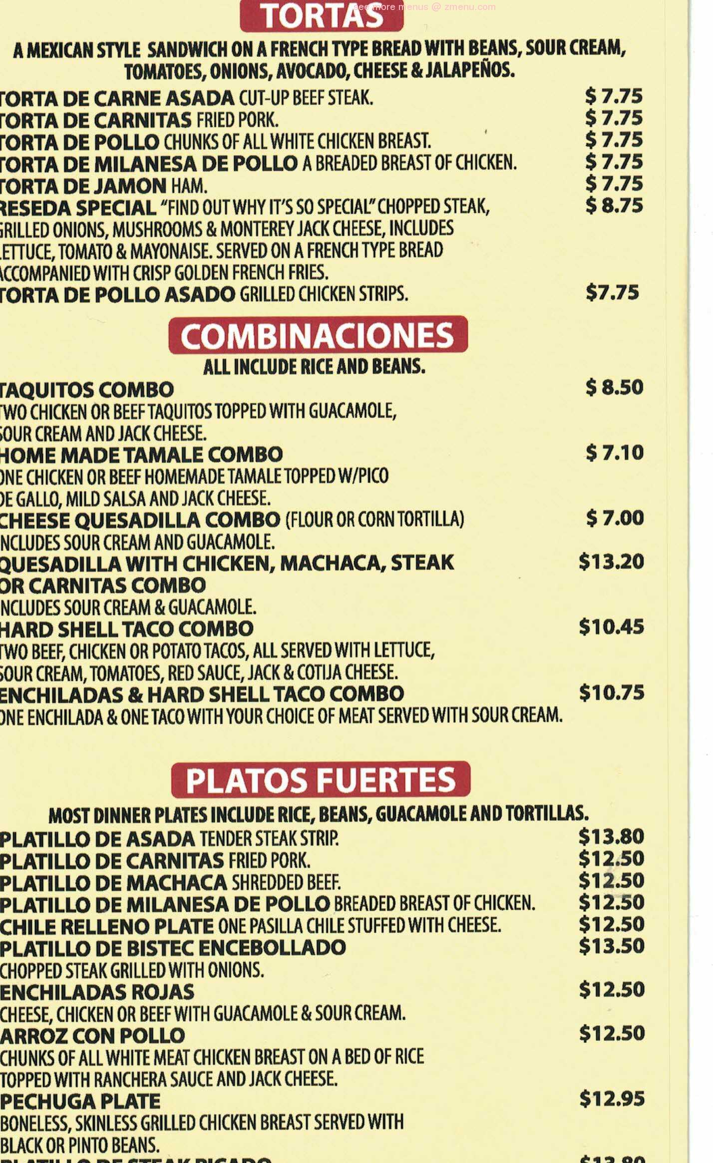 Online Menu Of Melodys Fresh Mexican Kitchen Restaurant Reseda California 91335 Zmenu