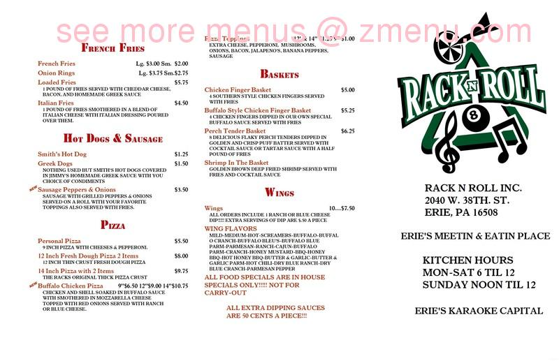 online menu of rack and roll restaurant  erie