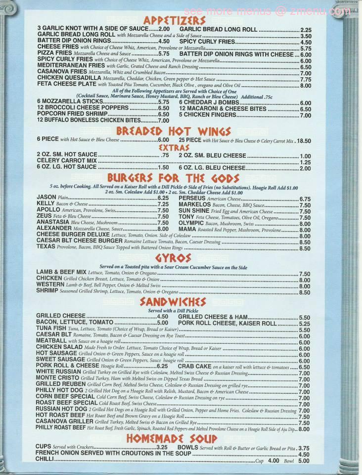Online Menu Of Casanovas Kitchen Restaurant Feasterville Trevose Pennsylvania 19053 Zmenu