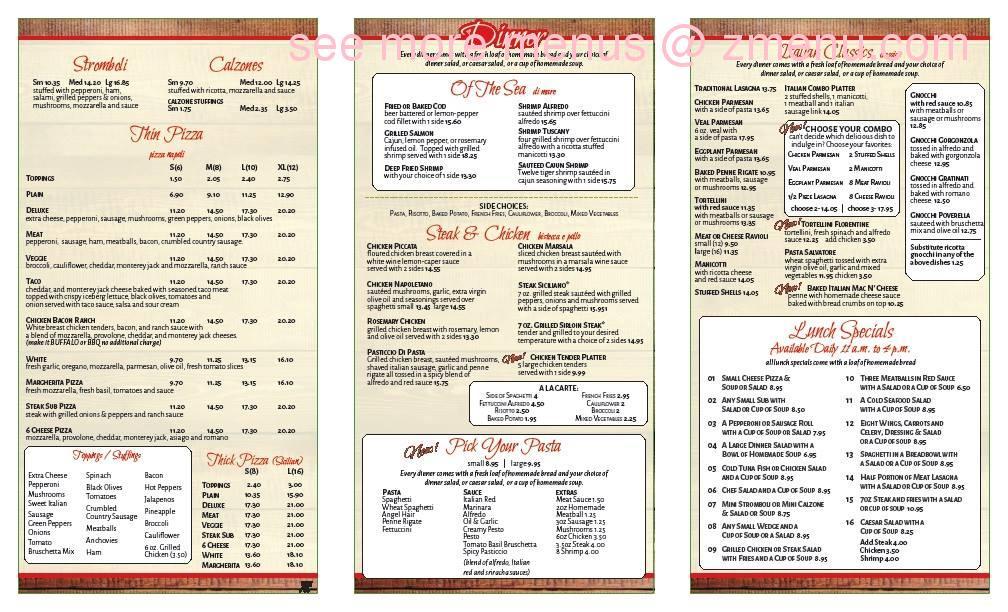 Valenza Restaurant Menu