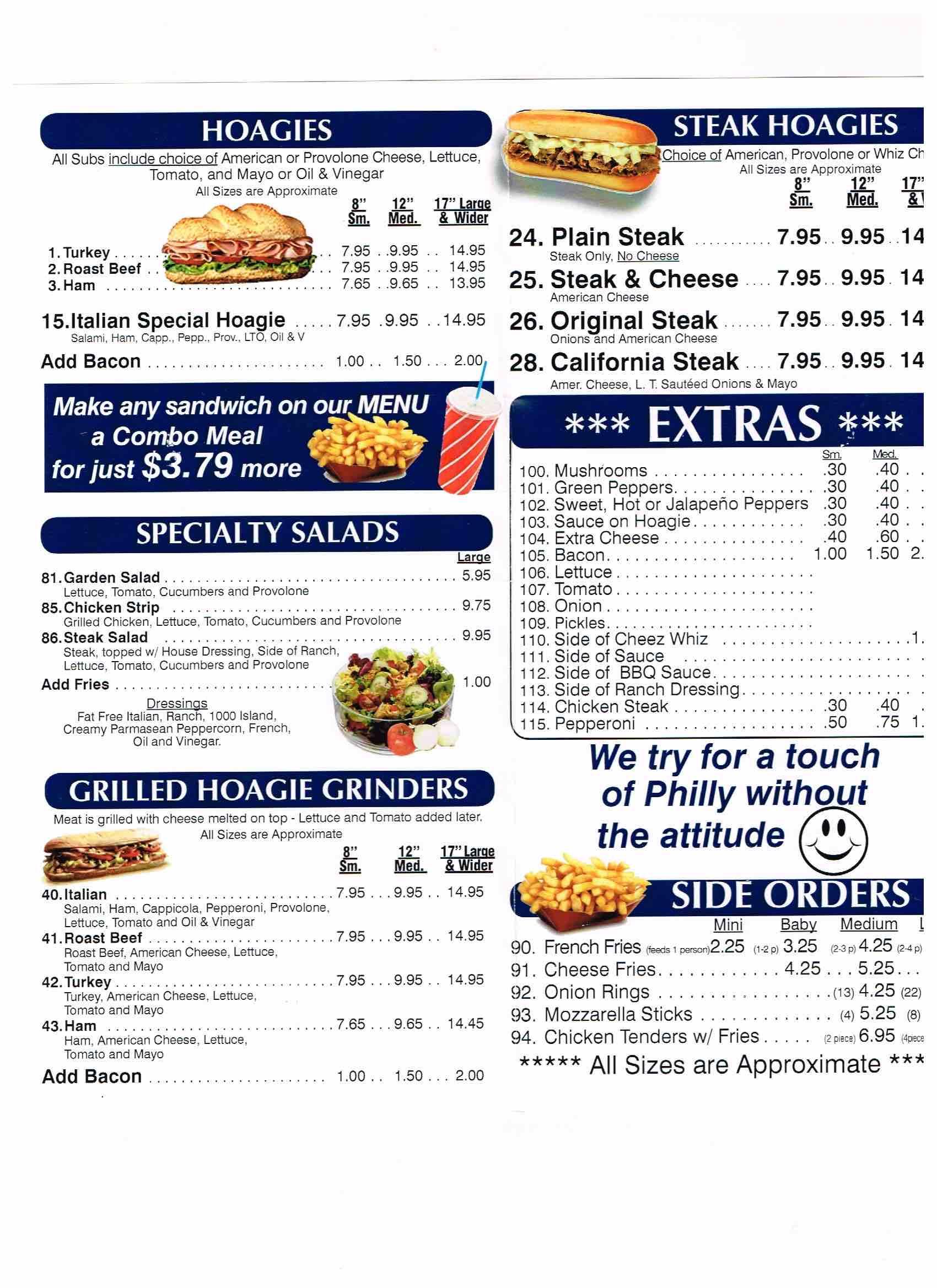 Online Menu Of Philadelphia Steak And Hoagie House Restaurant Mechanicsburg Pennsylvania