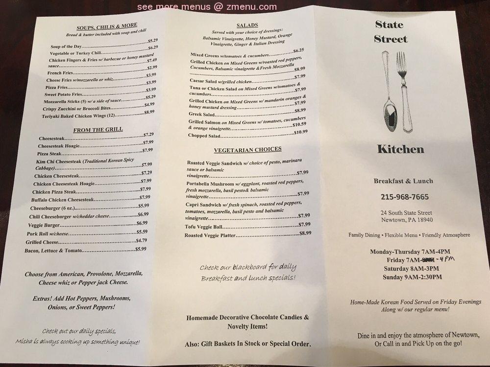 Online Menu Of State Street Kitchen Restaurant Newtown Pennsylvania 18940 Zmenu