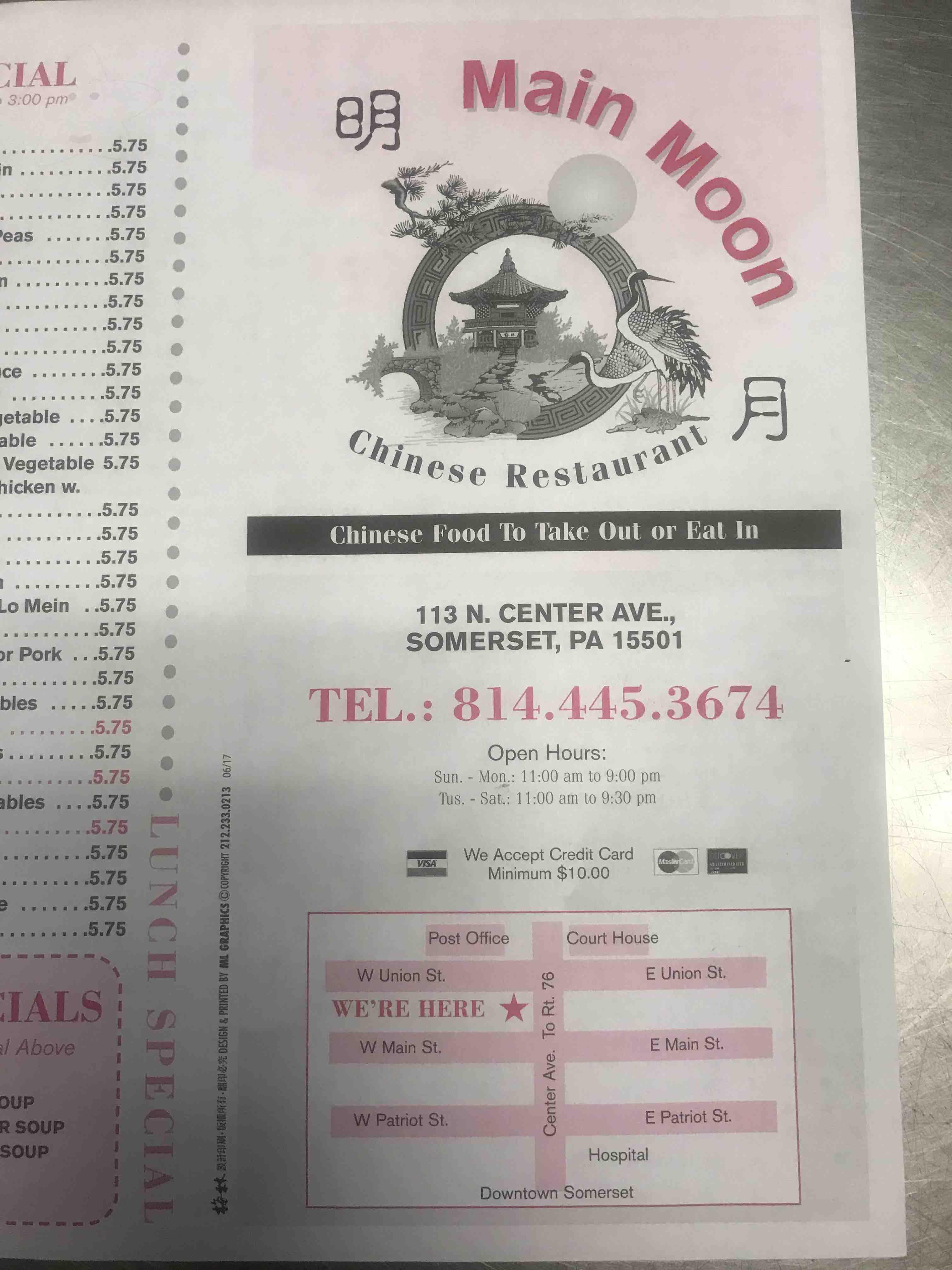Main Moon Chinese Restaurant Menu Somerset Pa