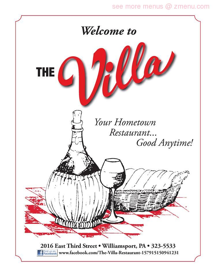 Online Menu Of The Villa Restaurant Williamsport