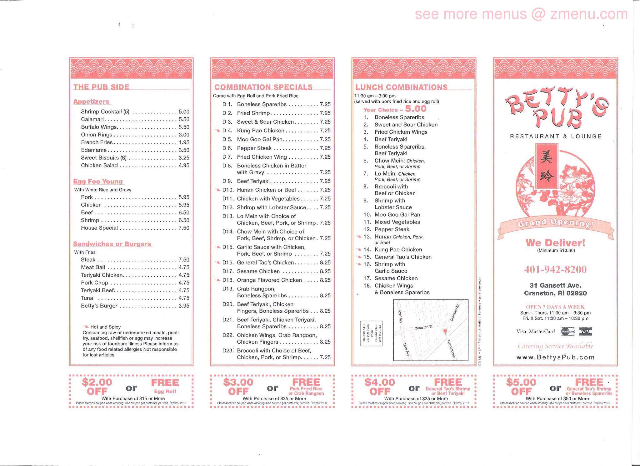 Online Menu of Betty\'s Pub & Chinese Restaurant Restaurant, Cranston ...
