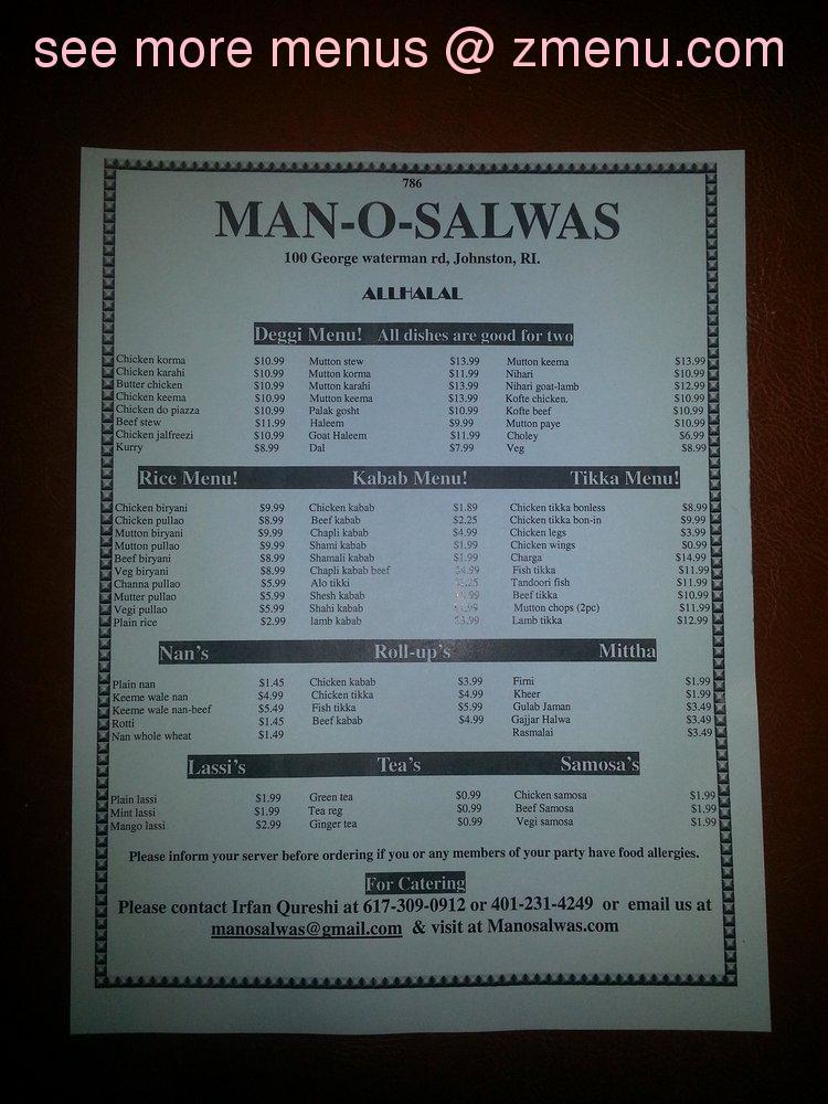 man o salwa restaurent menu pdf